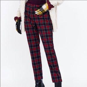 NWT Zara plaid pants w/elastic band sz M